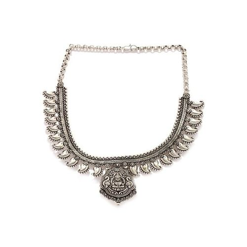 Rubans Kohlapuri Silver Casual Necklace