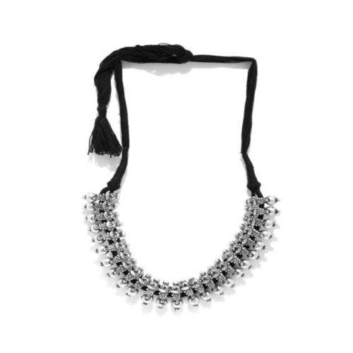 Rubans Kohlapuri Silver Casual Necklace