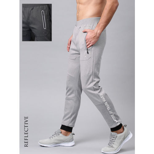HRX by Hrithik Roshan Men Grey Melange Solid Rapid-Dry Training Joggers