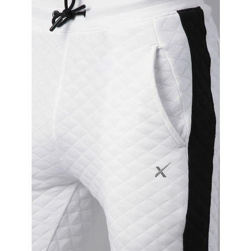 HRX by Hrithik Roshan Men White & Black Self Design Slim fit Joggers