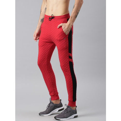 HRX by Hrithik Roshan Men Red & Black Self Design Joggers