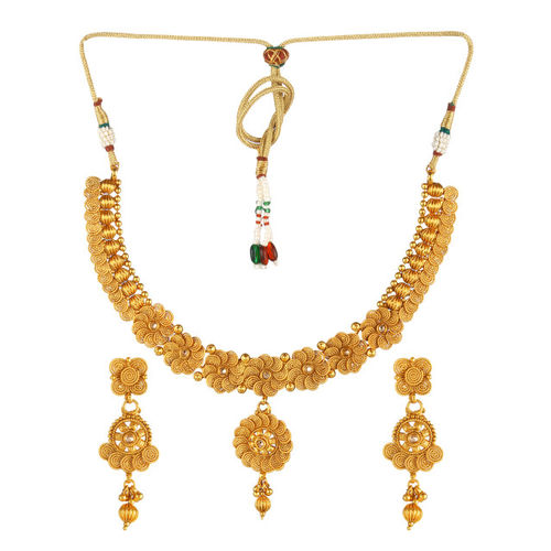 Adwitiya Collection Women Gold-Plated Copper Antique Necklace