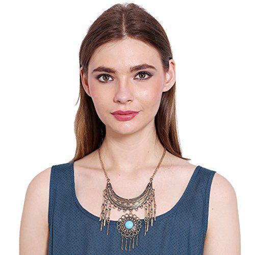 Adwitiya Collection Adwitiya New Silver Oxidised Natural Turquoise Stone Studded Beautiful Trendy Fashion Single Necklace