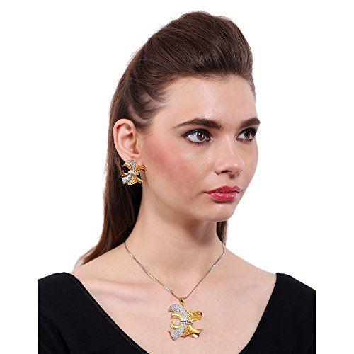Adwitiya Collection Adwitiya 24k Gold Plated CZ & Dark Golden Designed Ethnic Pendent Set For Womens