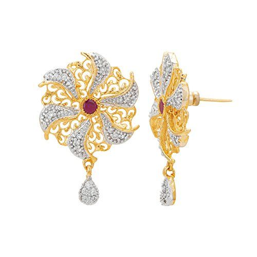 Adwitiya Collection Adwitiya 24k Gold Plated CZ & Ruby Studded Designer Pendent Set For Womens And Girls