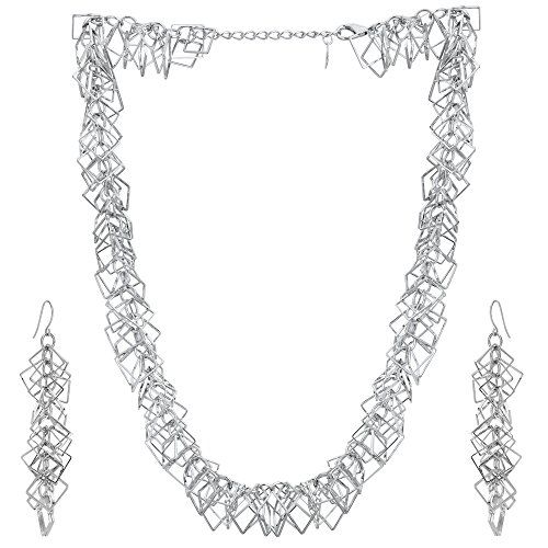 Adwitiya Collection Silver Plated Chain Set with Earring Special Jewellery for Girl.