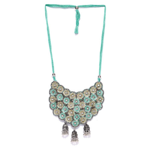 Infuzze Turquoise Blue & Oxidised Silver-Toned Handcrafted Necklace