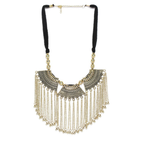 Infuzze Antique Gold-Toned & Black Brass-Plated Textured & Tasselled Necklace