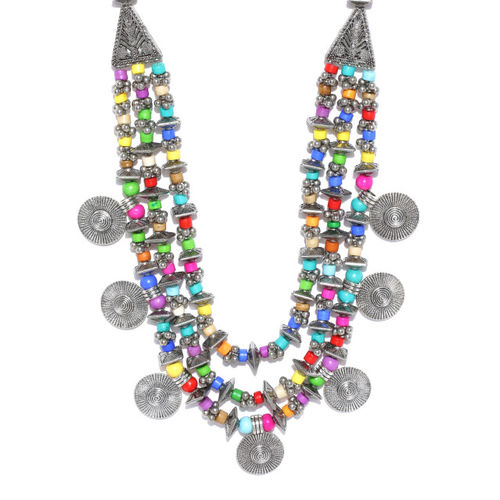 Infuzze Multicoloured Oxidised Brass-Plated Beaded Multistranded Necklace