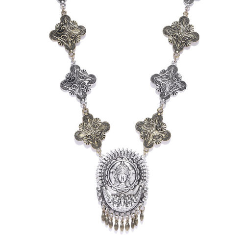 Infuzze Antique Gold-Toned & Oxidised Silver-Toned Tribal Necklace
