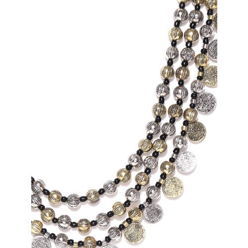 Infuzze Antique Gold & Silver-Toned Layered Necklace