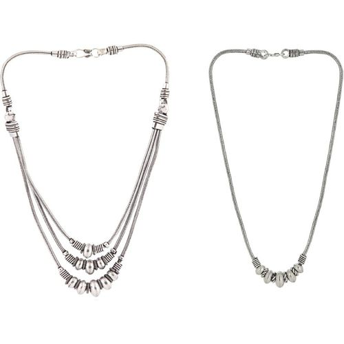 PRITA Prita Oxidised Silver Multistrant Necklace For Women And Girls, Combo of 2 Silver Plated Silver Necklace