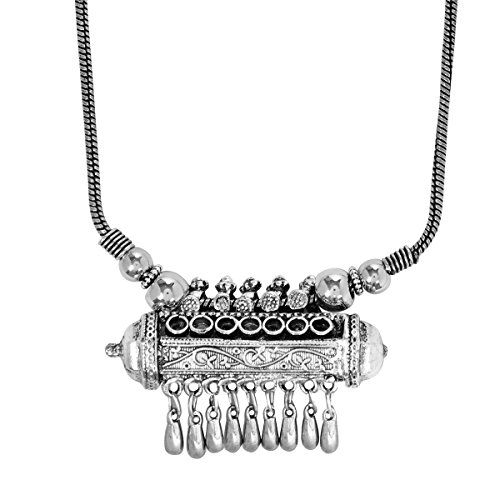 PRITA Antique Germansilver/Oxidized Silver Shine Contemporary Necklace for Girls and Women