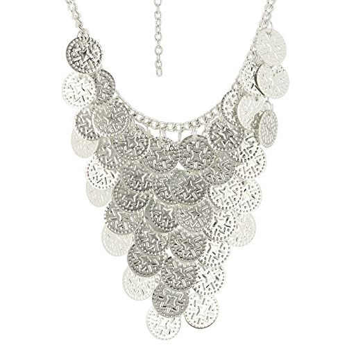 PRITA Statement Silver Necklace with Central Coin Dangling Pattern