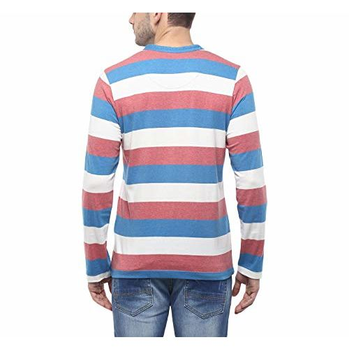 AMERICAN CREW Men's Cotton Henley T-Shirt Stripes Summer tee