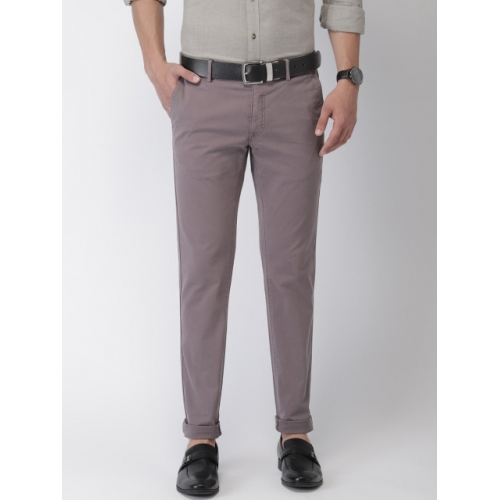 Indian Terrain Men Taupe Brooklyn Slim Fit Solid Chinos