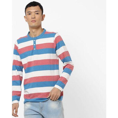 AMERICAN CREW Striped Henley T-shirt