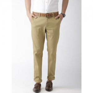 Indian Terrain Men Khaki Brooklyn Slim Fit Solid Chinos
