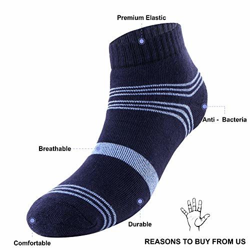 Trasa Men's Performance Full Cushion Soft Cotton Odour Free Daily Wear, Sports Wear Ankle Socks (Black, Blue and White) - Pack of 3