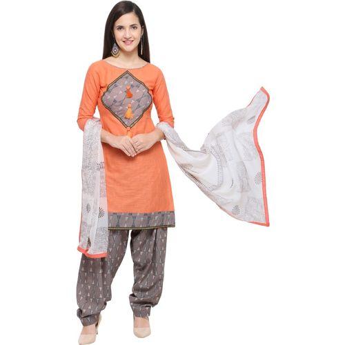 EthnicJunction Cotton Blend Geometric Print Salwar Suit Material(Unstitched)