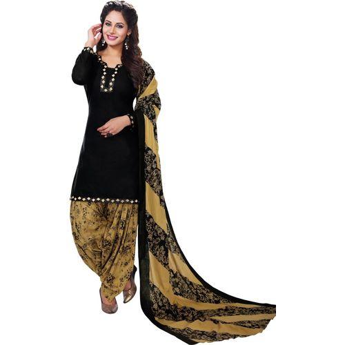 Reya Black Poly Crepe Printed Salwar Suit Material