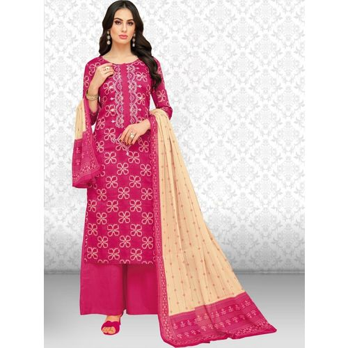 Divastri Cotton Blend Printed, Embroidered Salwar Suit Material(Unstitched)