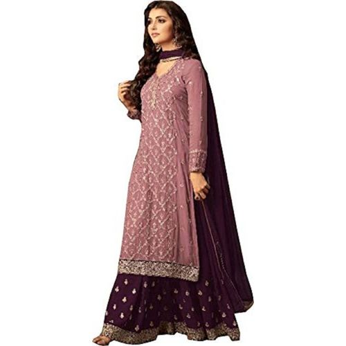 Jiva Poly Georgette Embroidered Salwar Suit Material(Semi Stitched)