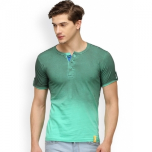 Campus Sutra Men Green Dyed Henley Neck T-shirt