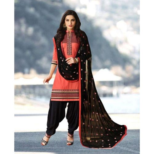 Nivah Fashion Cotton Blend Embroidered Salwar Suit Material(Unstitched)