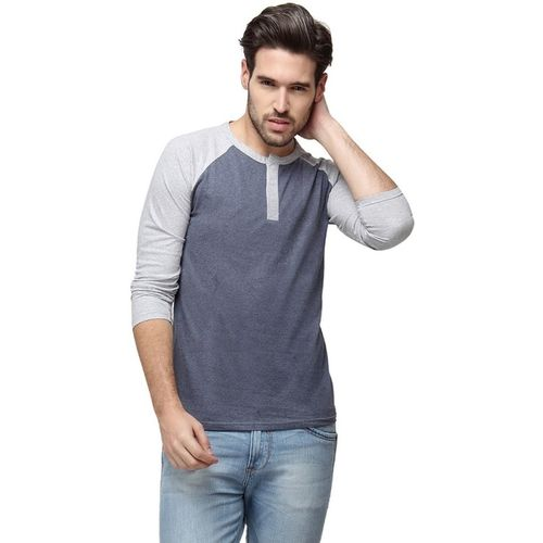Campus Sutra Solid Men Henley Blue T-Shirt