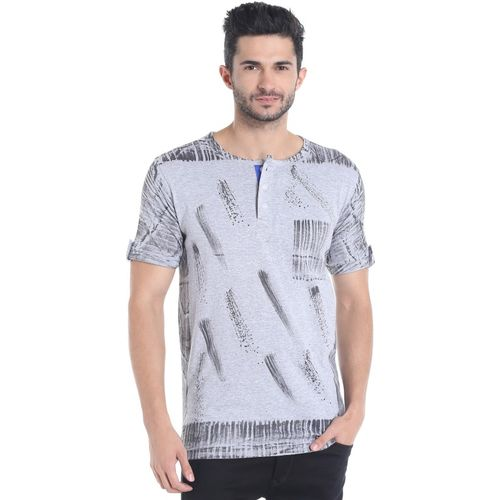 Campus Sutra Printed Men Henley Grey T-Shirt