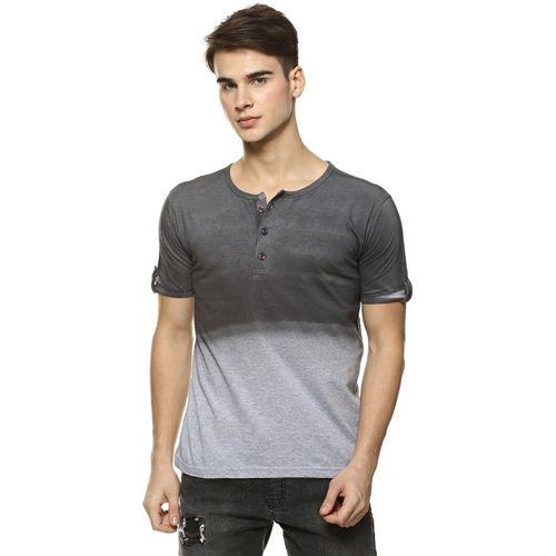 Campus Sutra Color Block Men Henley Neck Grey T-Shirt