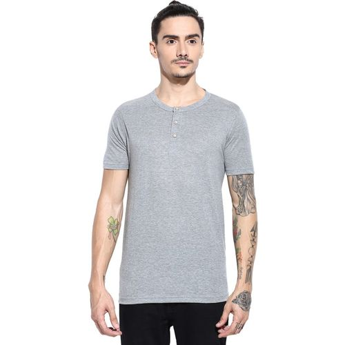 Campus Sutra Solid Men Round Neck Grey T-Shirt