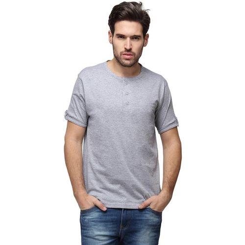 Campus Sutra Solid Men Henley Grey T-Shirt