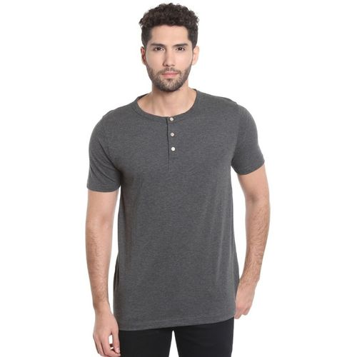 Campus Sutra Solid Men Henley Grey T-Shirt