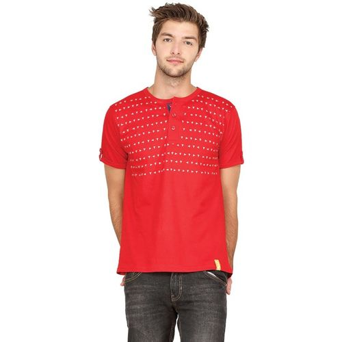 Campus Sutra Geometric Print Men Henley Red T-Shirt