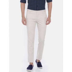 Parx Men Beige Slim Fit Solid Chinos