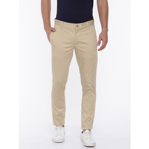 Parx Men Beige Tailored Slim Fit Solid Chino Trousers