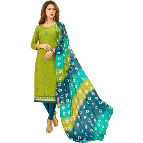Viva N Diva Cotton Blend Embroidered Salwar Suit Material(Unstitched)