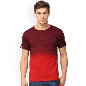 Campus Sutra Men Maroon & Red Dyed Henley Neck T-shirt