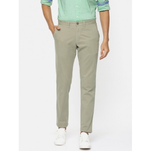 Parx Men Green Lowell Tapered Fit Solid Chinos