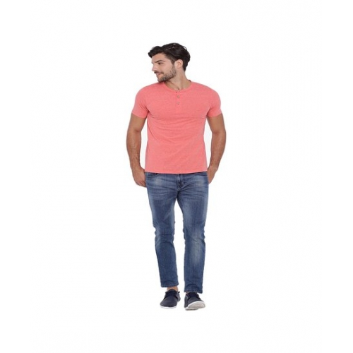 Campus Sutra Peach Henley Cotton T-Shirt