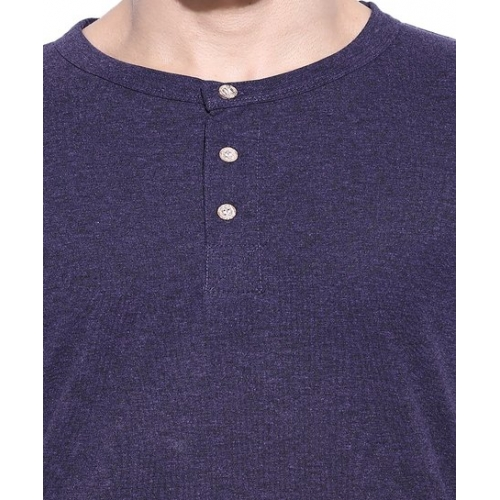 Campus Sutra Purple Henley Cotton T-Shirt