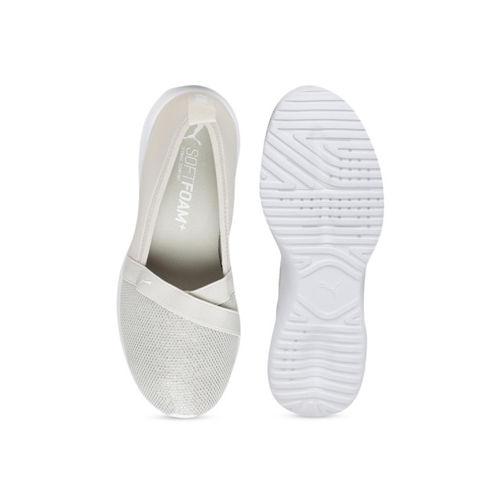 Puma Women Beige Adelina Sparkle Slip-On Sneakers