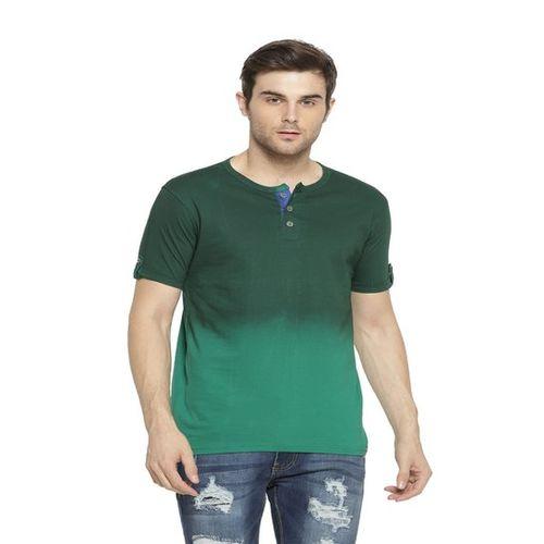 Campus Sutra Green Regular Fit Cotton Henley T-Shirt
