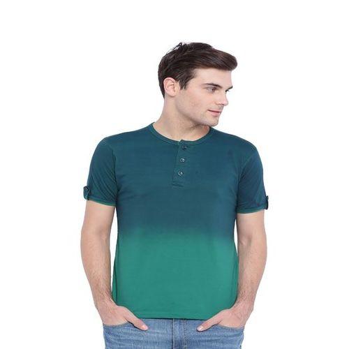 Campus Sutra Bottal Green & Green Henley T-Shirt