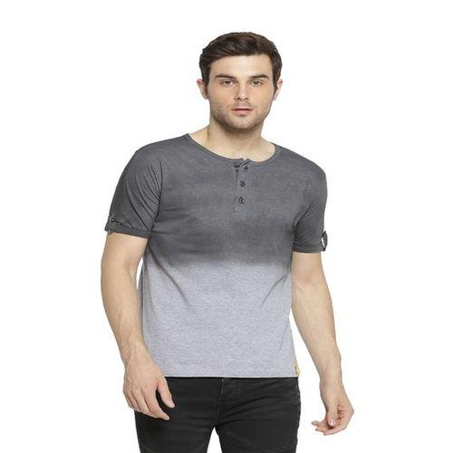 Campus Sutra Grey Cotton Henley T-Shirt