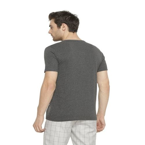 Campus Sutra Charcoal Henley T-Shirt