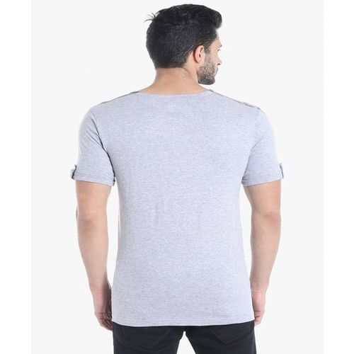 Campus Sutra Grey Short Sleeves Henley T-Shirt