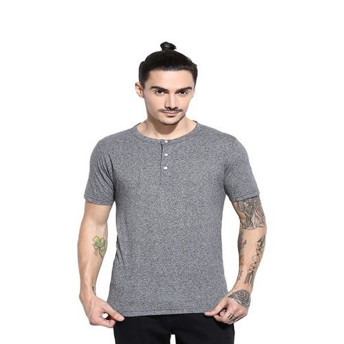 Campus Sutra Grey Henley Cotton T-Shirt